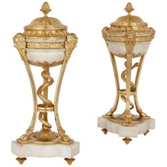 Pair of Louis XVI Style Gilt Bronze and Marble Lidded Urns