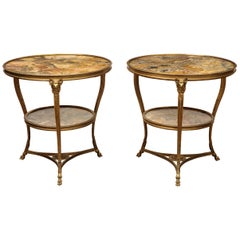 Pair of Louis XVI Style, Gilt Bronze and Marble, Two-Tier Gueridons