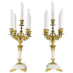 Pair of Louis XVI Style Gilt Bronze and White Marble Five-Light Candelabras