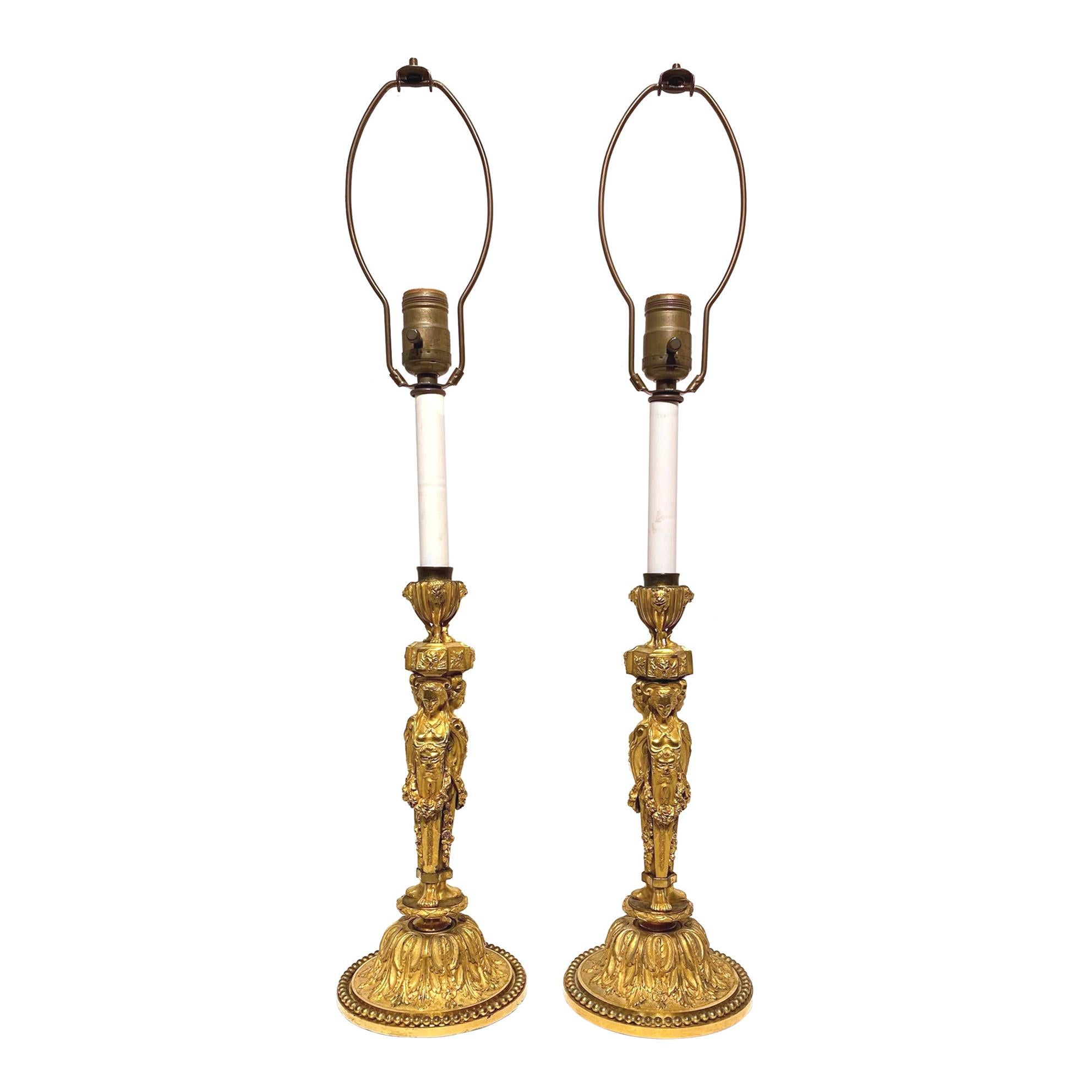 Pair of Louis XVI Style Gilt Bronze Candlestick Lamps