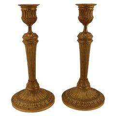 Pair of Louis XVI Style Gilt Bronze Candlesticks