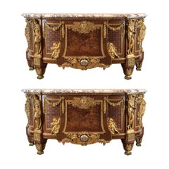 Pair of Louis XVI Style Gilt-Bronze Mounted Armorial Marble-Top Commode