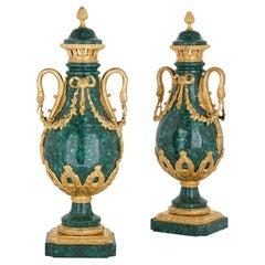 Pair of Louis XVI style gilt bronze mounted malachite swan-handle vases