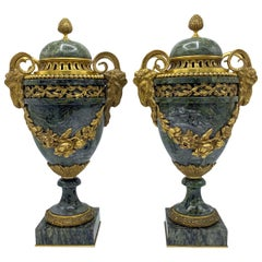 Pair of Louis XVI Style Gilt Bronze Mounted Marble Urns