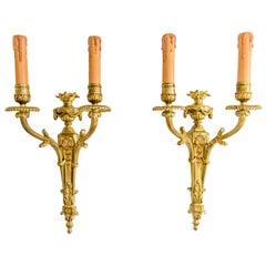 Paar Louis XVI Stil vergoldete Bronze-Leuchter