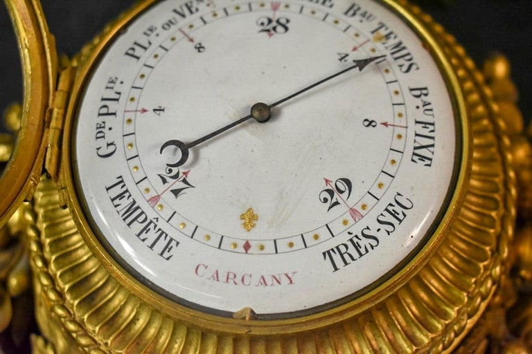 Pair of Louis XVI Style Gilt Bronze Wall Clocks and Barometer In Good Condition For Sale In New York, NY