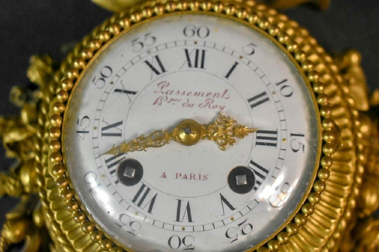 Pair of Louis XVI Style Gilt Bronze Wall Clocks and Barometer For Sale 1