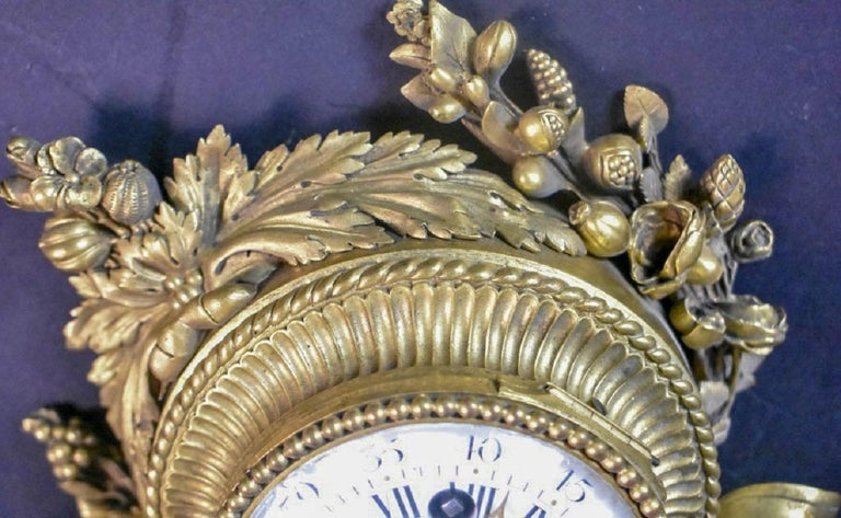 Pair of Louis XVI Style Gilt Bronze Wall Clocks and Barometer For Sale 3