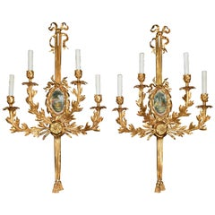 Pair of Louis XVI Style Gilt-Bronze Wall Sconces, Four-Light