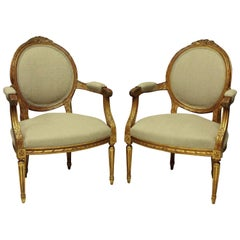 Pair of Louis XVI Style Giltwood Armchairs