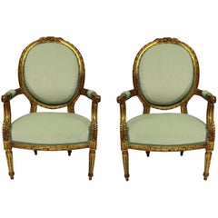 Pair of Louis XVI Style Giltwood Armchairs in Duck Egg Velvet