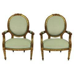 Pair of Louis XVI Style Giltwood Armchairs in Duck Egg Velvet