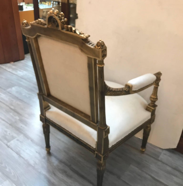 Pair of Louis XVI Style Giltwood Chairs 5