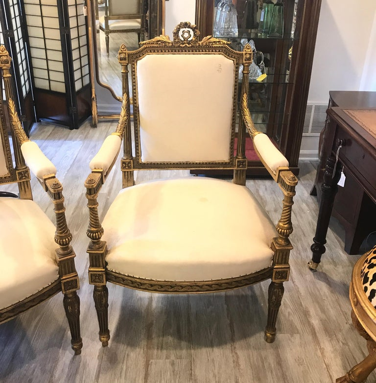 A pair of elegant carved giltwood armchairs. Louis XVI style made in Egypt in the French taste. These chairs are covered in a plain muslin cotton, ready to have the final fabric upholstered on them. The muslin is spotted from age. Measures: 41 in.