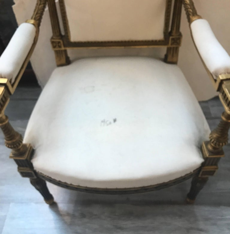 Pair of Louis XVI Style Giltwood Chairs 1