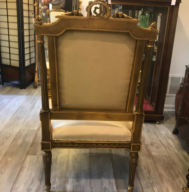 Pair of Louis XVI Style Giltwood Chairs 3