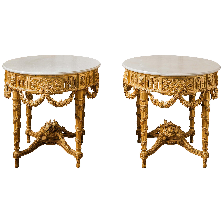 Pair of Louis XVI Style Giltwood Console Tables by La Maison, London