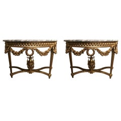 Pair of Louis XVI Style Giltwood Consoles with White and Gray Marble Tops
