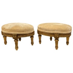 Pair of Louis XVI Style Giltwood Foot Stools