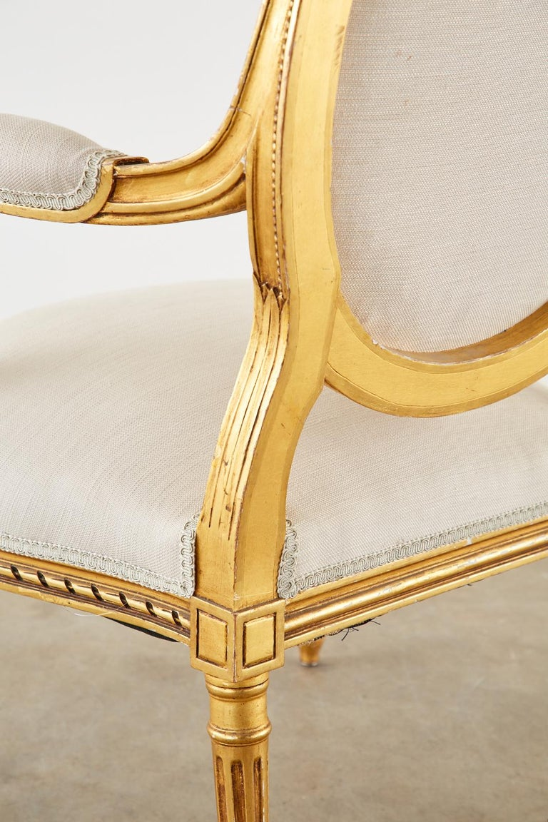 Pair of Louis XVI Style Giltwood Linen Fauteuil Armchairs 6