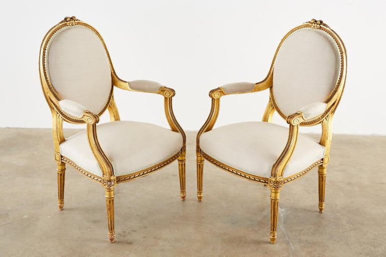 Pair of Louis XVI Style Giltwood Linen Fauteuil Armchairs 9