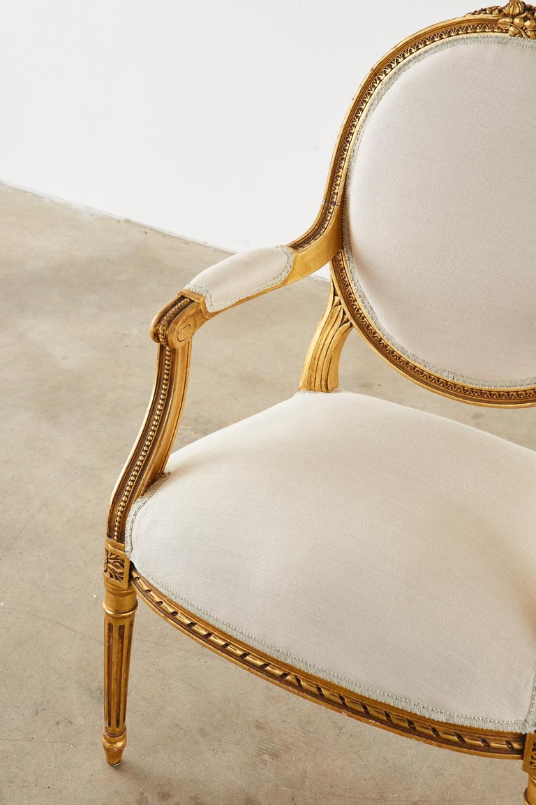 Pair of Louis XVI Style Giltwood Linen Fauteuil Armchairs 13