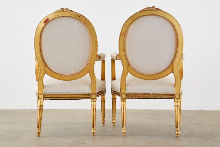Pair of Louis XVI Style Giltwood Linen Fauteuil Armchairs 14