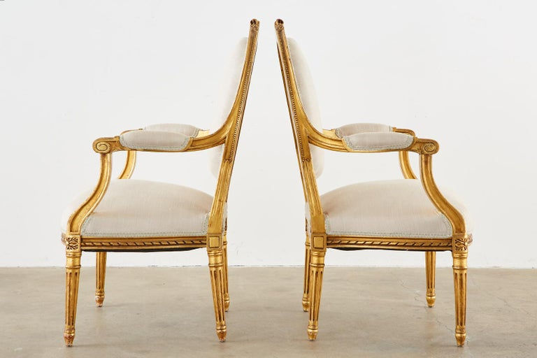 Pair of Louis XVI Style Giltwood Linen Fauteuil Armchairs 1