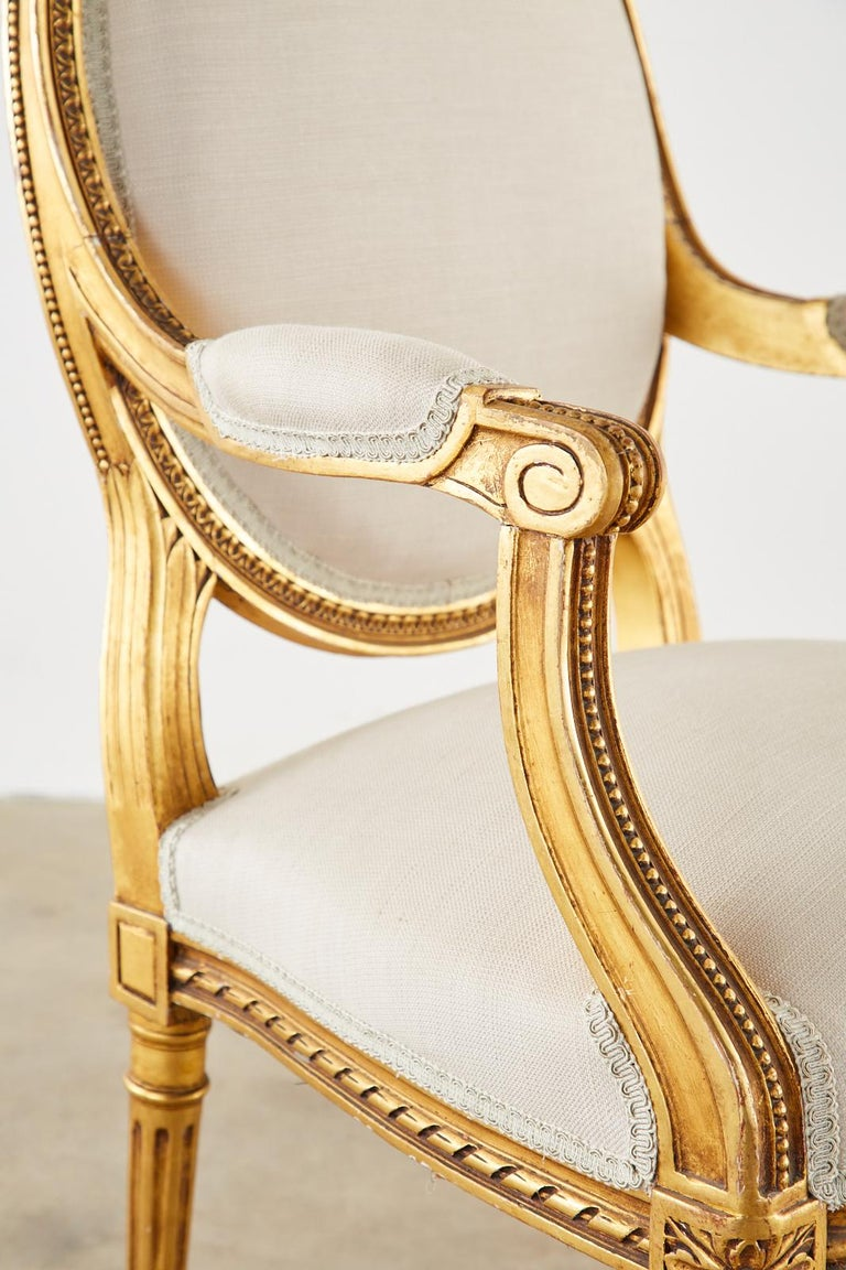 Pair of Louis XVI Style Giltwood Linen Fauteuil Armchairs 2