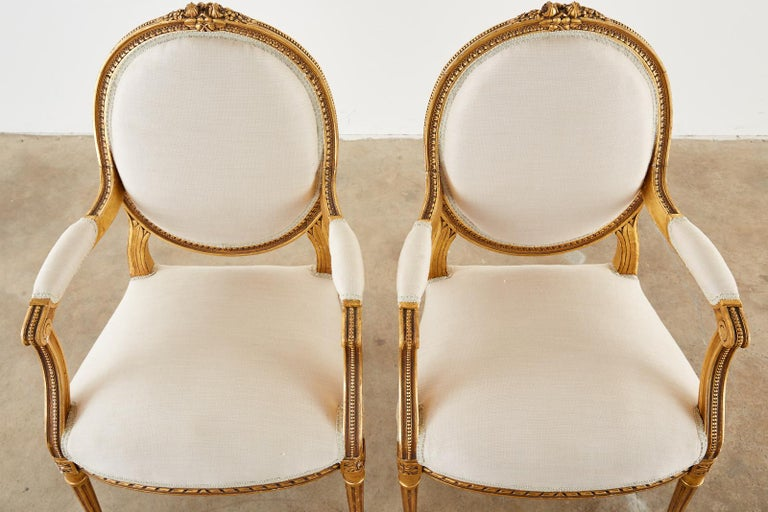 Pair of Louis XVI Style Giltwood Linen Fauteuil Armchairs 3