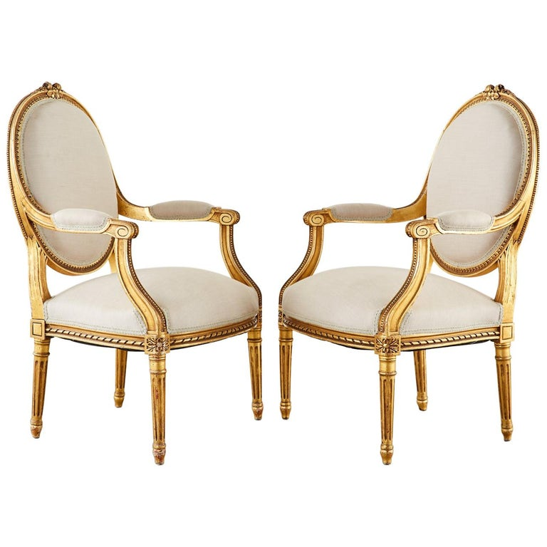 Pair of Louis XVI Style Giltwood Linen Fauteuil Armchairs