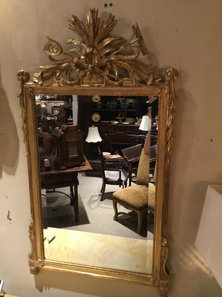 French Pair of Louis XVI Style Giltwood Mirrors, 20th Century For Sale