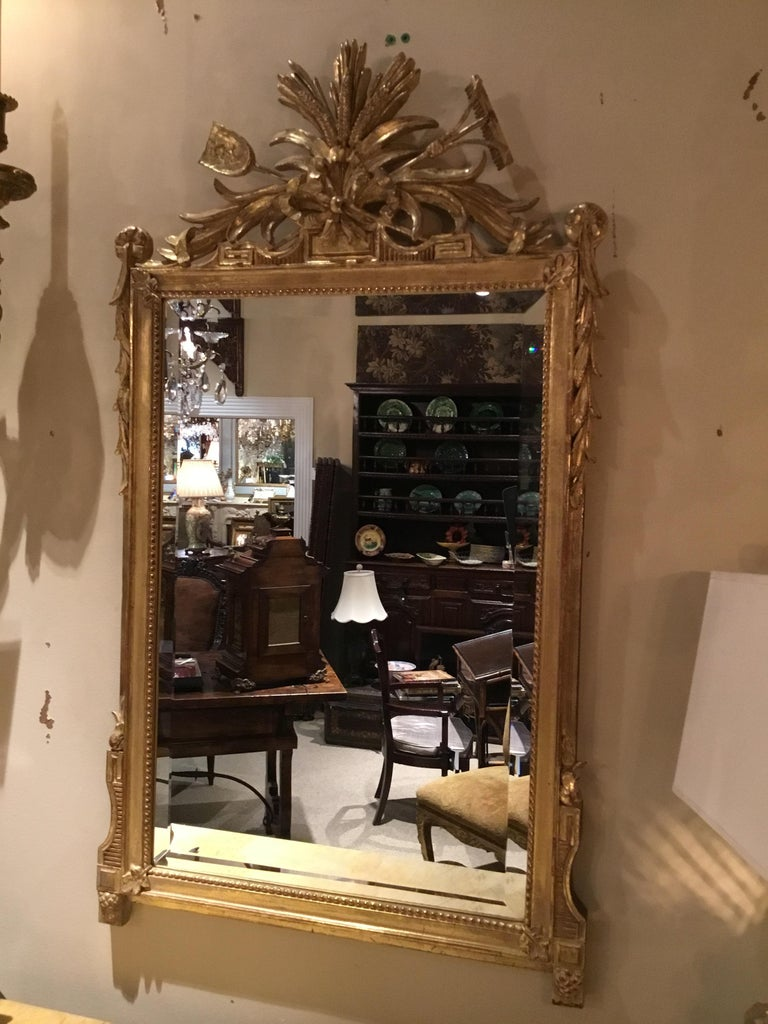 Pair of Louis XVI Style Giltwood Mirrors, 20th Century For Sale 1