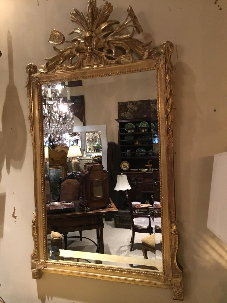 Pair of Louis XVI Style Giltwood Mirrors, 20th Century For Sale 2