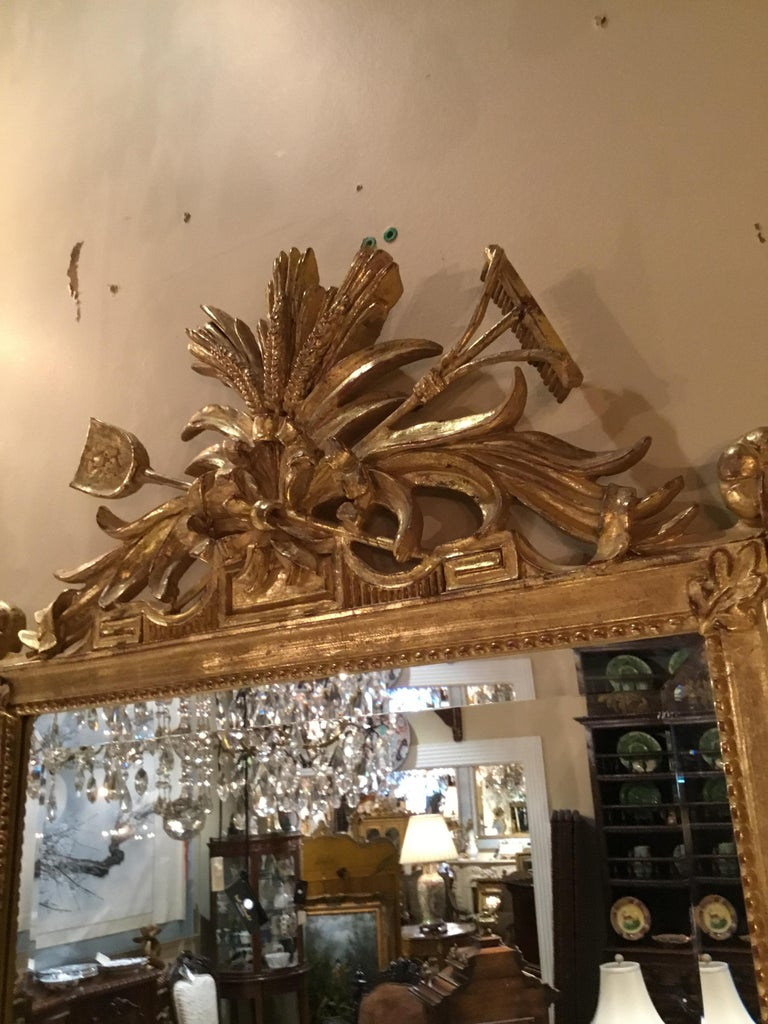 Pair of Louis XVI Style Giltwood Mirrors, 20th Century For Sale 3