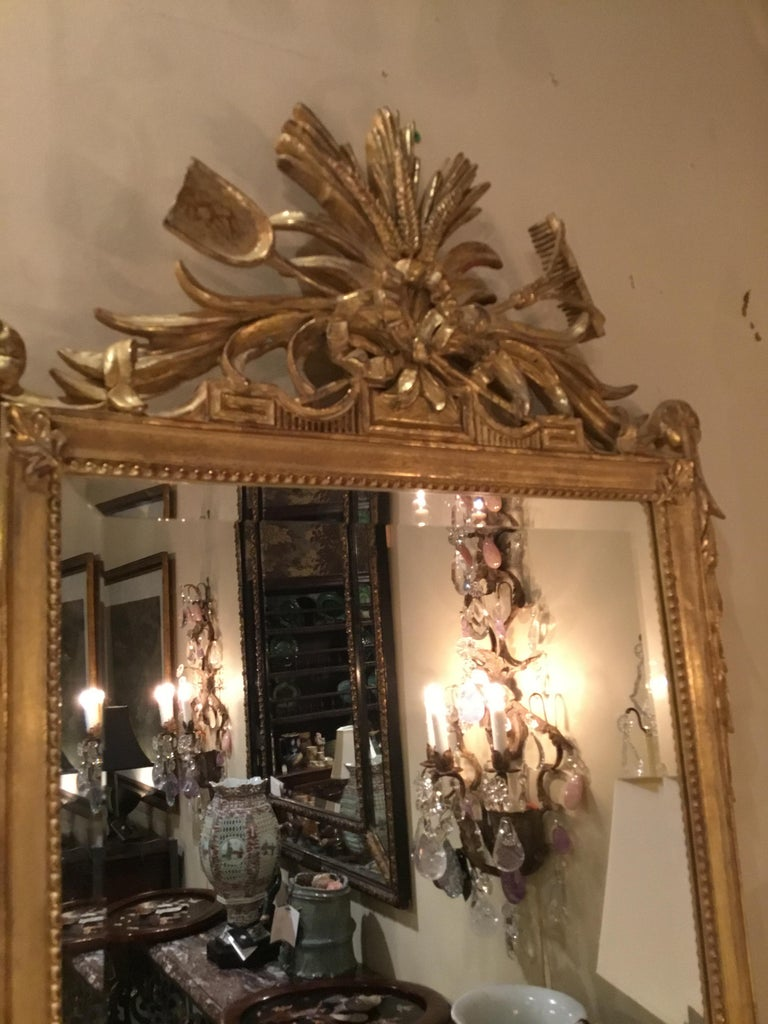 Pair of Louis XVI Style Giltwood Mirrors, 20th Century For Sale 4
