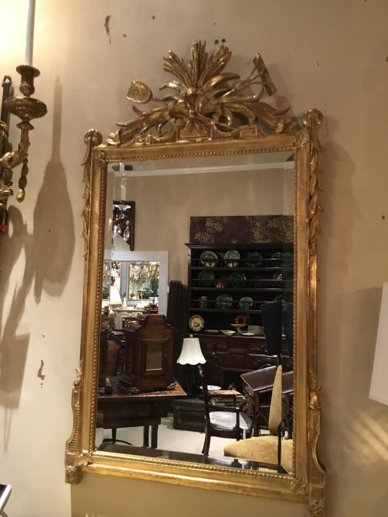 Pair of Louis XVI Style Giltwood Mirrors, 20th Century For Sale 5