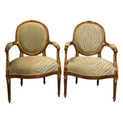 Pair of Louis XVI Style Green Zebra Striped Fauteuils or Armchairs