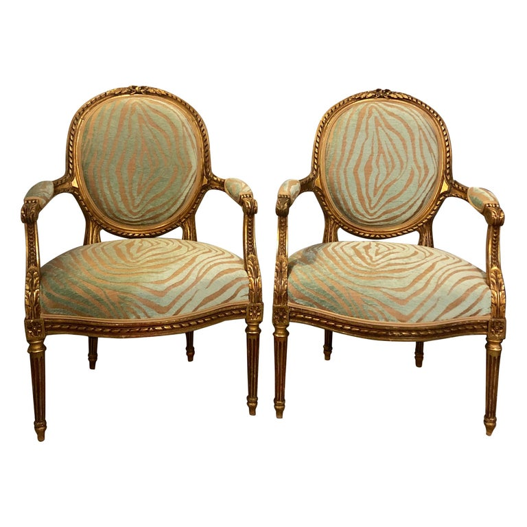 Pair Of Louis XVI Style Green Zebra Striped Fauteuils Or