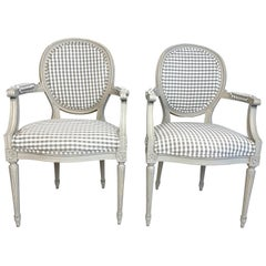 Pair of Louis XVI Style Grey Painted Country Fauteuils in Grey Gingham