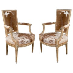 Pair of Louis XVI Style Hide Upholstered Fauteuils