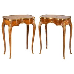 Pair of Louis XVI Style Inlaid Side Tables, Late 19th Century