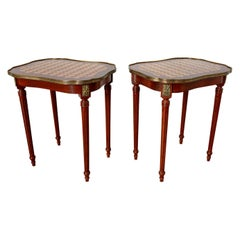 Pair of Louis XVI Style Inlay Drinks Tables