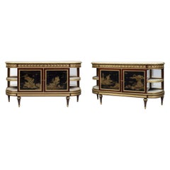Pair of Louis XVI Style Lacquer Commodes à l'Anglaise, French, circa 1860