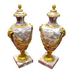 Pair of Louis XVI Style Late 19th Century Marble Cassolettes