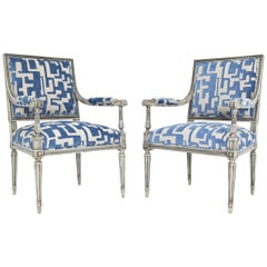 Pair of Louis XVI Style Lounge Chairs in Blue/Taupe