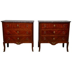 Pair of Louis XVI Style Mahogany Chests with Marble Tops