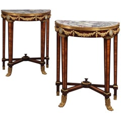 Pair of Louis XVI Style Mahogany Petites Consoles Tables, French, circa 1890