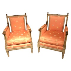Pair of Louis XVI Style Maison Jansen Armchairs / Bergeres, Distressed Finish