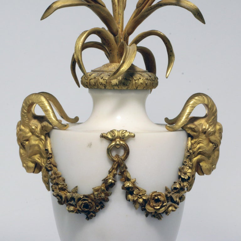 Pair of Louis XVI Style Marble and Gilt Bronze Candelabra For Sale 5